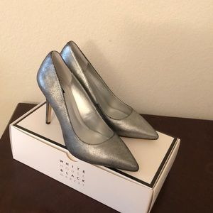 WHBM silver shimmer heels.